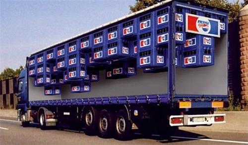 Upside Down Pepsi Truck